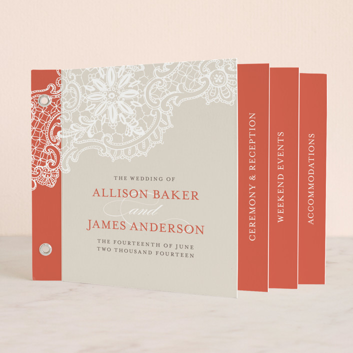 """""""White Lace"""" - Classical, Formal Minibook Wedding Invitations in Coral Rose by Lauren Chism."""