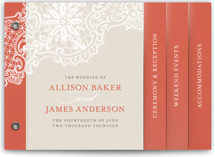 This is a red wedding invitation minibook card by Lauren Chism called White Lace with standard printing on strathmore in minibook.