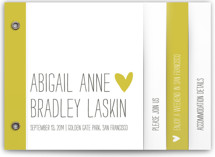 This is a yellow wedding invitation minibook card by annie clark called Passing Notes with standard printing on strathmore in minibook.