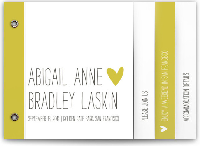 This is a landscape, portrait bold and typographic, hand drawn, modern, whimsical, yellow Wedding Invitations by annie clark called Passing Notes with Standard printing on Standard Cover in Minibook™ Card