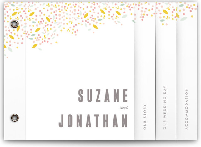 Modern Dotted Blooms Wedding Invitation Minibooks