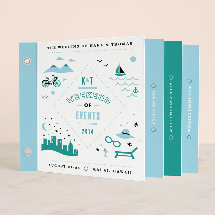 """Before & After"" - Modern, Beach Minibook Wedding Invitations in Ocean Blue by Jennifer Wick."