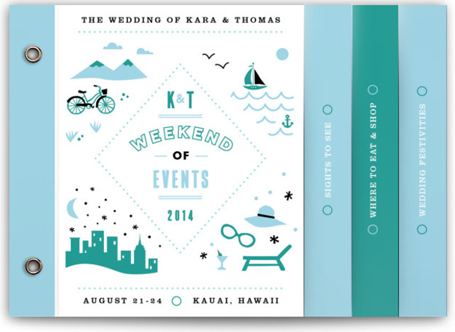 This is a landscape beach, destination, modern, monogrammed, whimsical, blue, green Wedding Invitations by Jennifer Wick called Before & After with Standard printing on Signature Cover in Minibook™ Card Created for you by Minted's global community of designers, our exclusive ...