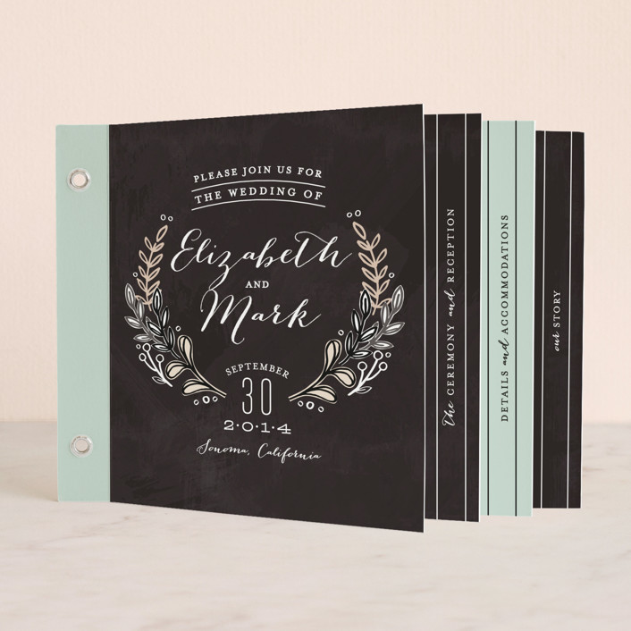 """Chalkboard Accents"" - Rustic, Floral & Botanical Minibook Wedding Invitations in Chalkboard by Alethea and Ruth."