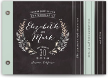 This is a grey wedding invitation minibook card by Alethea and Ruth called Chalkboard Accents with standard printing on strathmore in minibook.