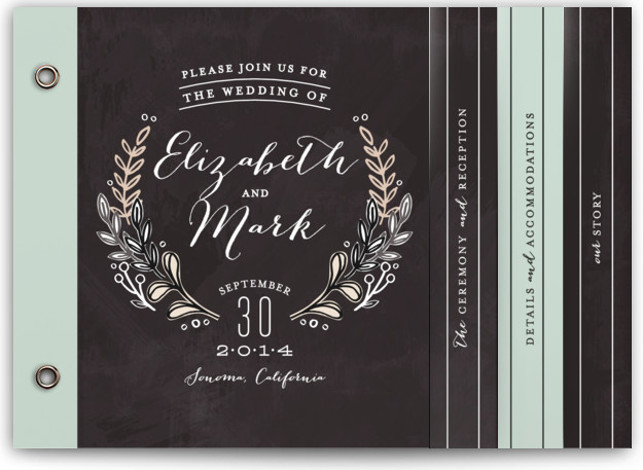This is a landscape classical, elegant, floral, hand drawn, rustic, grey Wedding Invitations by Alethea and Ruth called Chalkboard Accents with Standard printing on Signature Cover in Minibook™ Card Created for you by Minted's global community of designers, our exclusive ...