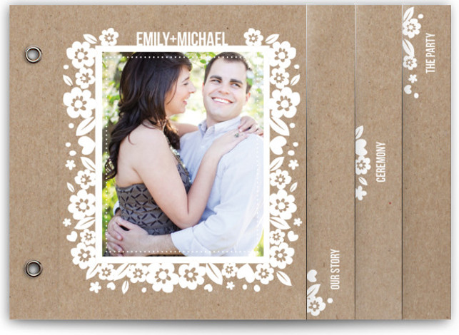 This is a landscape floral, rustic, white, brown Wedding Invitations by Four Wet Feet Studio called White Blossoms Paper Cut Out with Standard printing on Signature Cover in Minibook™ Card Created for you by Minted's global community of designers, our ...