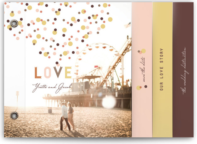 This is a landscape simple, whimsical, yellow, pink Wedding Invitations by fatfatin called Sweet Confetti with Standard printing on Signature Cover in Minibook™ Card Created for you by Minted's global community of designers, our exclusive Minibook