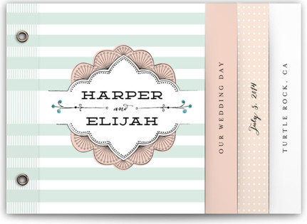 photo of Striped Sweet Nothings Wedding Invitation Minibooks