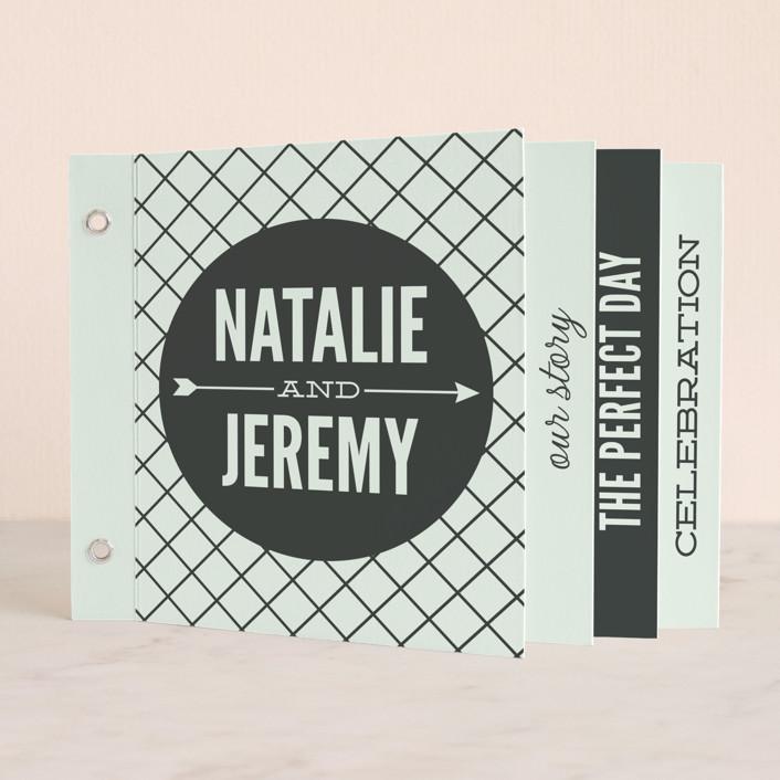 """Arrowed In"" - Bold typographic, Modern Minibook Wedding Invitations in Sky by Jessie Steury."