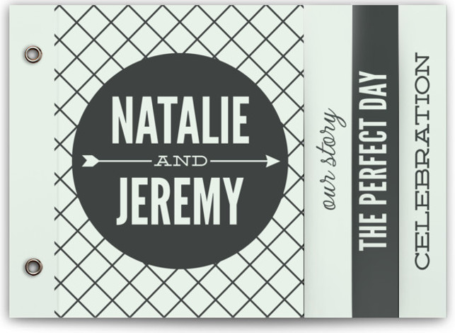This is a landscape bold typographic, modern, blue Wedding Invitations by Jessie Steury called Arrowed In with Standard printing on Signature Cover in Minibook™ Card Created for you by Minted's global community of designers, our exclusive Minibook