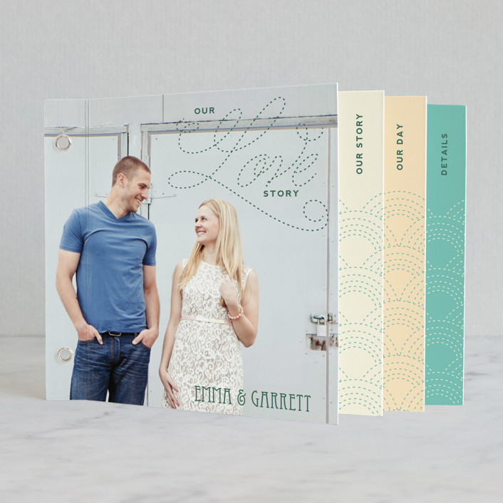 """Love Nouveau"" - Whimsical & Funny, Simple Minibook Wedding Invitations in Deep Ocean by Amanda Joy."