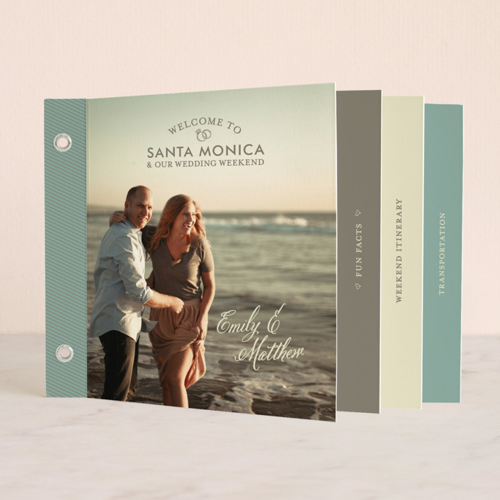 """Our Itinerary"" - Classical Minibook Wedding Invitations in Beach by Loree Mayer."