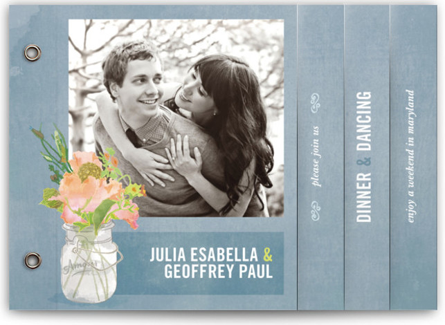 This is a landscape floral, hand drawn, rustic, watercolor, blue Wedding Invitations by Beth Ann called Bouquet D'Amour with Standard printing on Standard Cover in Minibook™ Card