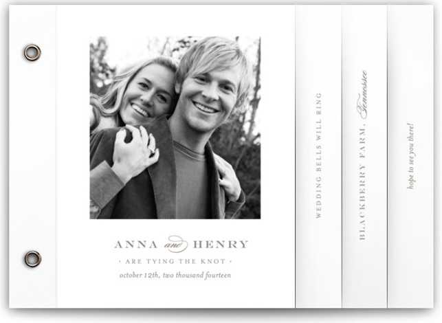 This is a landscape, portrait classic and formal, classical, elegant, floral, simple, simple and minimalist, traditional, brown Wedding Invitations by Toast & Laurel called Field with Standard printing on Standard Cover in Minibook™ Card