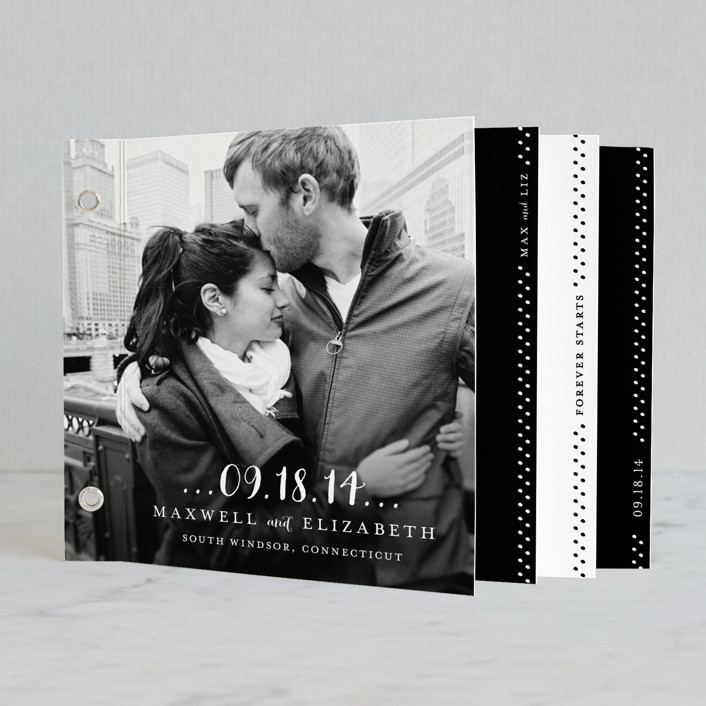 """Simple Type"" - Modern, Classical Minibook Wedding Invitations in Black by Roxy Cervantes."