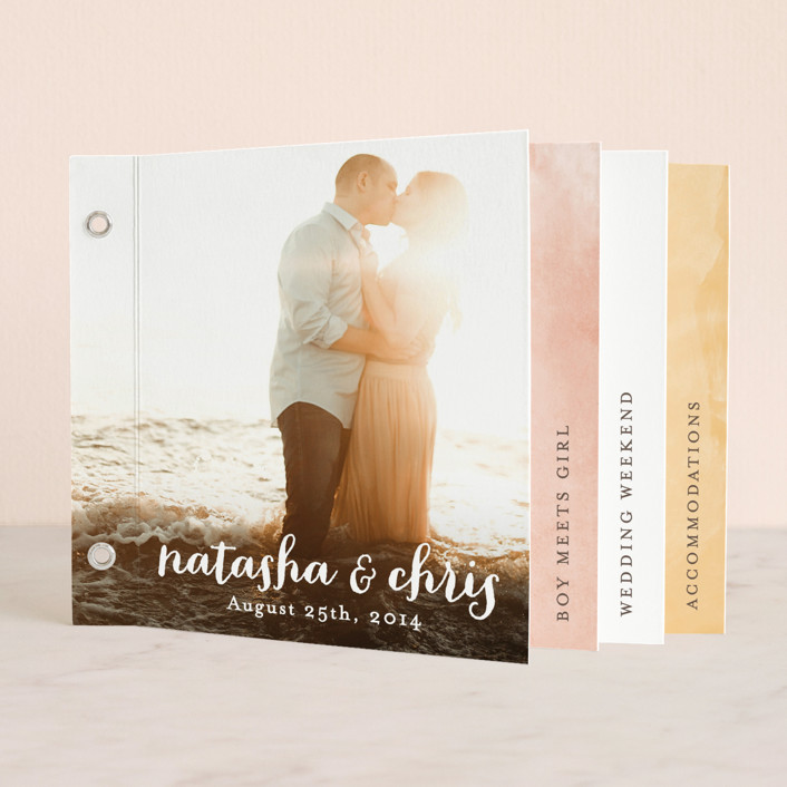 """Watercolor Love"" - Simple Minibook Wedding Invitations in Cotton Candy by Hooray Creative."