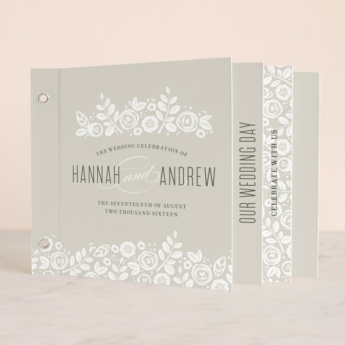 """White Shadows"" - Classical, Floral & Botanical Minibook Wedding Invitations in Champagne by Jessica Williams."