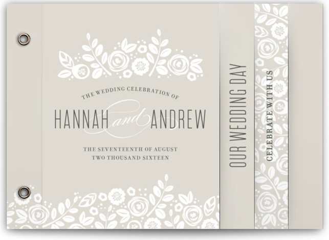 This is a landscape, portrait botanical, classical, elegant, floral, hand drawn, vintage, brown Wedding Invitations by Jessica Williams called White Shadows with Standard printing on Signature Cover in Minibook™ Card Created for you by Minted's global community of designers, our ...