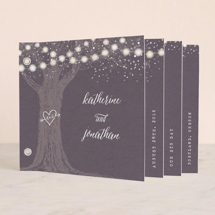 """Garden Lights"" - Rustic, Hand Drawn Minibook Wedding Invitations in Plum by Hooray Creative."