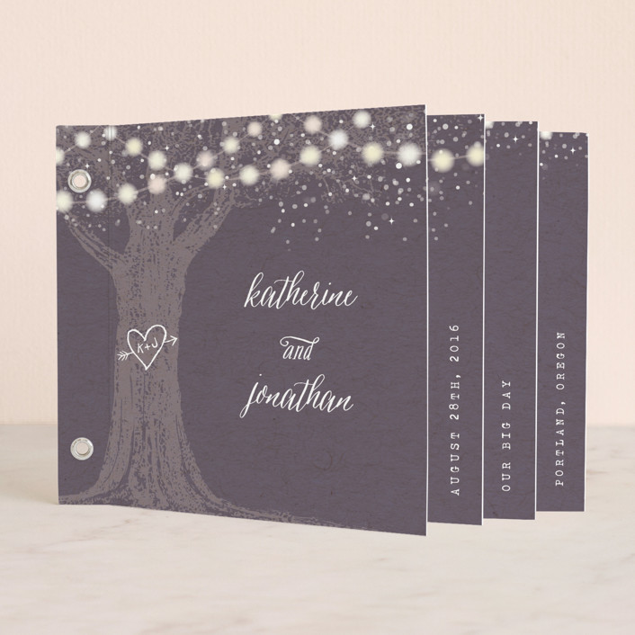 """Garden Lights"" - Rustic, Hand Drawn Minibook Wedding Invitations in Plum by Hooray Creative."