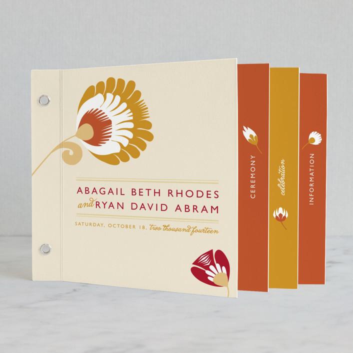 """Papercut"" - Rustic, Floral & Botanical Minibook Wedding Invitations in Goldenrod by Yolanda Mariak Chendak."
