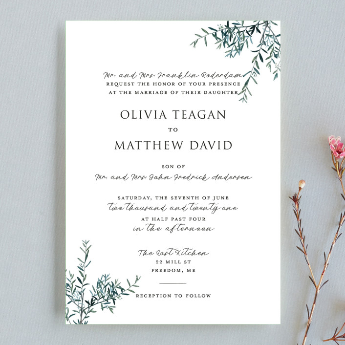 """Fresh Sage"" - Wedding Invitation Petite Cards in Olive by Christie Kelly."
