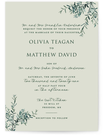 This is a portrait botanical, rustic, green Wedding Invitations by Christie Kelly called Fresh Sage with Standard printing on Signature in Petite Flat Card format. Set the tone for your bright and lovely nuptials with this delicate and delightful invitation. ...