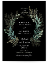 This is a black petite wedding invitation by Alethea and Ruth called Forest Crest with standard printing on signature in petite.
