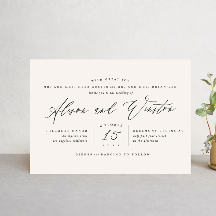 """""""Timeless"""" - Wedding Invitation Petite Cards in Taupe by Leah Bisch."""