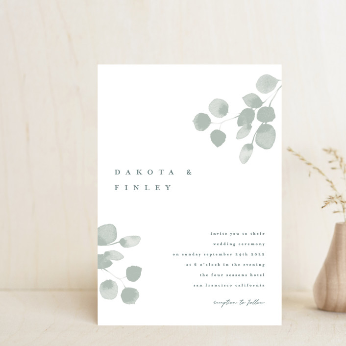 """Silver Dollar Eucalyptus"" - Wedding Invitation Petite Cards in Silver Dollar by Shannon Chen."