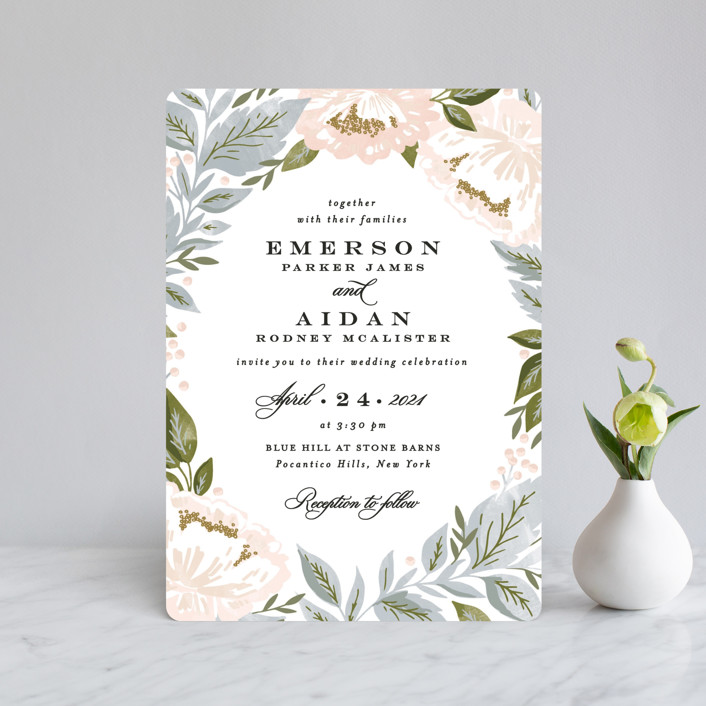 """Peony Floral Frame"" - Wedding Invitation Petite Cards in Cornflower by Alethea and Ruth."