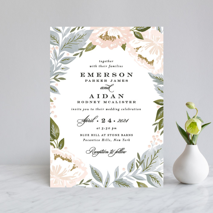 """""""Peony Floral Frame"""" - Wedding Invitation Petite Cards in Cornflower by Alethea and Ruth."""