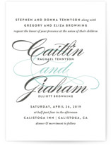 This is a blue petite wedding invitation by Olivia Raufman called Cordial Flourish with standard printing on signature in petite.