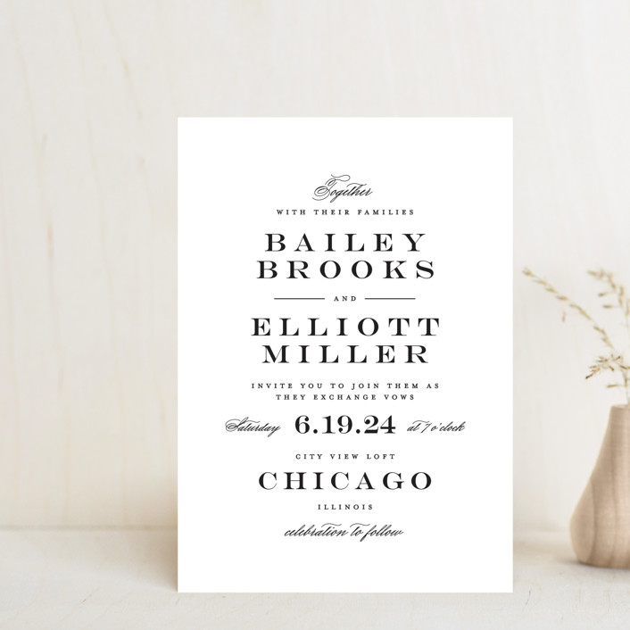 """""""Downtown"""" - Wedding Invitation Petite Cards in Onyx by Lauren Chism."""