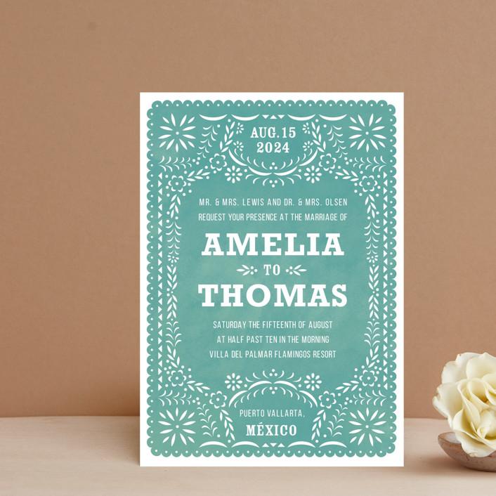 """""""Fiesta Folk Art"""" - Wedding Invitation Petite Cards in Lagoon by root beer float."""