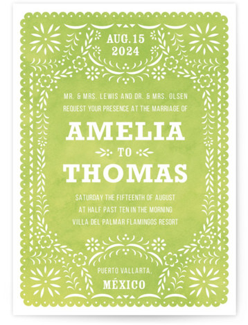 This is a portrait green Wedding Invitations by root beer float called Fiesta Folk Art with Standard printing on Signature in Petite Flat Card format. Created for you by Minted's global community of designers our invitation designs will set the ...