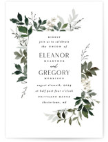 This is a green petite wedding invitation by Everett Paper Goods called Grove with standard printing on signature in petite.