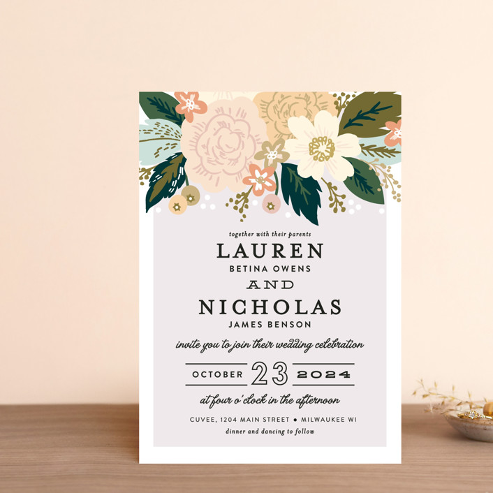 """Classic Floral"" - Wedding Invitation Petite Cards in Spring Blush by Alethea and Ruth."
