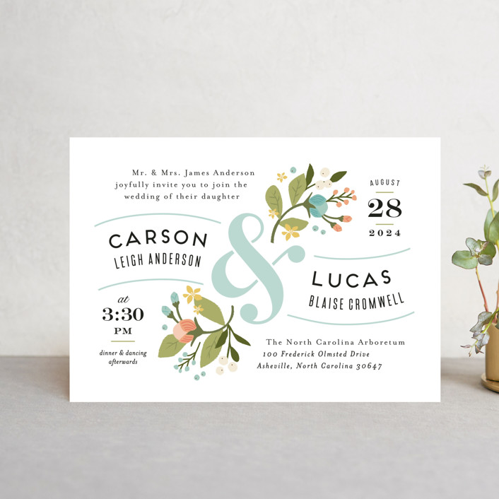 """Floral Ampersand"" - Rustic Wedding Invitation Petite Cards in Sea Breeze by Jennifer Wick."