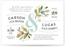 This is a blue petite wedding invitation by Jennifer Wick called Floral Ampersand with standard printing on signature in petite.