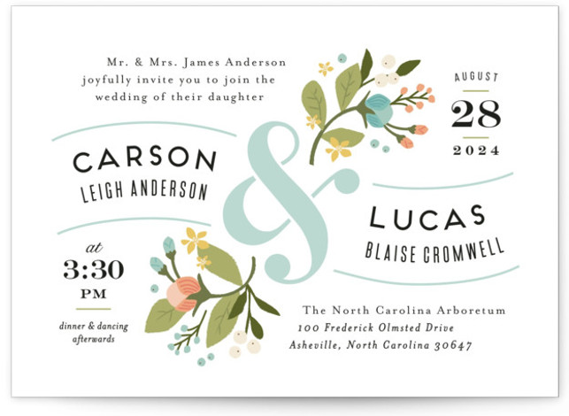 This is a landscape botanical, floral, rustic, vintage, blue Wedding Invitations by Jennifer Wick called Floral Ampersand with Standard printing on Signature in Petite Flat Card format. Created for you by Minted's global community of designers our invitation designs will ...