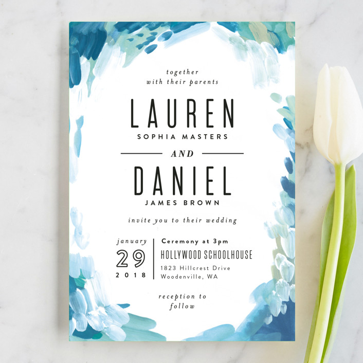 """""""Gallery Abstract Art"""" - Bohemian Wedding Invitation Petite Cards in Ocean by Alethea and Ruth."""