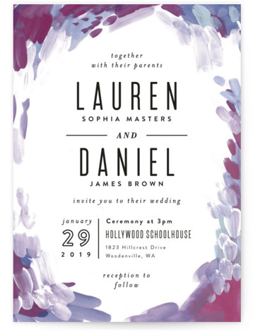 This is a portrait bohemian, painterly, purple Wedding Invitations by Alethea and Ruth called Gallery Abstract Art with Standard printing on Signature in Petite Flat Card format. Created for you by Minted's global community of designers our invitation designs will ...