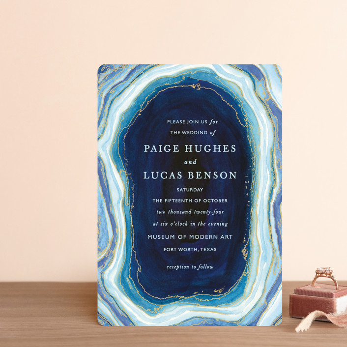 """Gilt Agate"" - Bohemian, Rustic Wedding Invitation Petite Cards in Navy by Kaydi Bishop."
