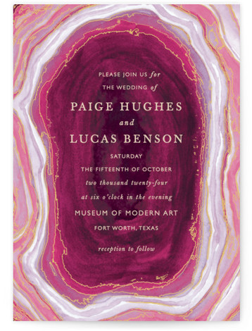 This is a portrait bohemian, rustic, purple, pink Wedding Invitations by Kaydi Bishop called Gilt Agate with Standard printing on Signature in Petite Flat Card format. A classic watercolor take on chic geodes with gold foil accents serves as the ...
