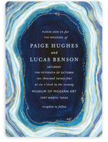 This is a blue petite wedding invitation by Kaydi Bishop called Gilt Agate with standard printing on signature in petite.