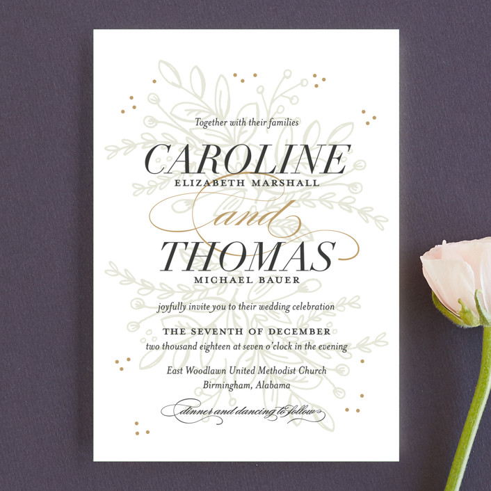 """""""Graceful"""" - Floral & Botanical, Elegant Wedding Invitation Petite Cards in Taupe by Jessica Williams."""