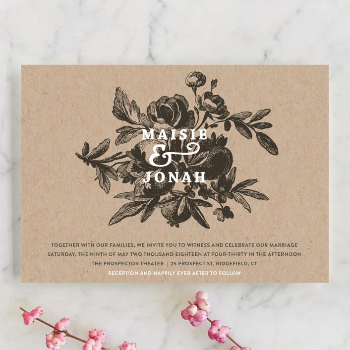 """""""Love in Bloom"""" - Rustic Wedding Invitation Petite Cards in Kraft by R studio."""