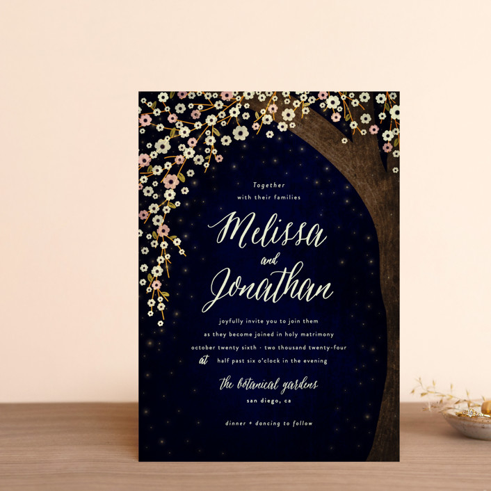 """""""Outside"""" - Rustic Wedding Invitation Petite Cards in Navy by Rebecca Bowen."""